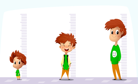 Happy boy measures his growth in different ages. Funny cartoon vector art on white background.