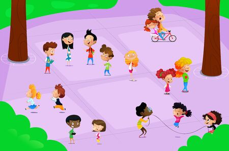 Cartoon children playing in the playground near school. Vector illustration Illustration