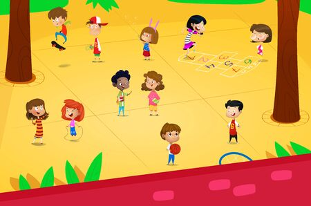 Cartoon children playing in the playground. Vector illustration
