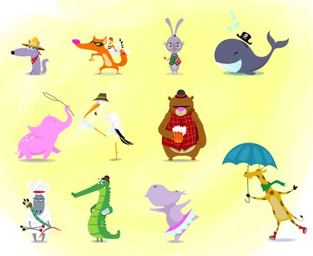 Big set of cute cafrtoon animals: crocodile, hare, rabbit, bear, hippo, giraffe, sheep, elephant, wolf, whale, fox, stork. Vector