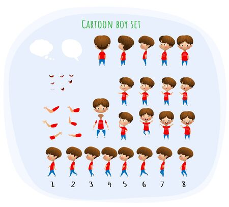 Cute young male boy character set for animation with various views,, emotions, poses and gestures and walking cycle. School equipment set. Isolated vector illustration Ilustrace