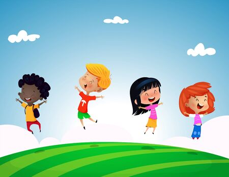 Group of kids jumping on grass hill with blue sky. Cartoon vector