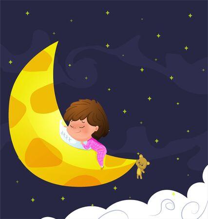 Cartoon little baby sleeps on moon. Vector illustration. Illustration
