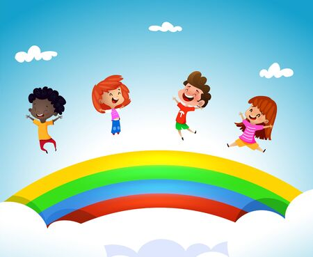 Cartoon children having fun ona rainbow. Vector summer illustration