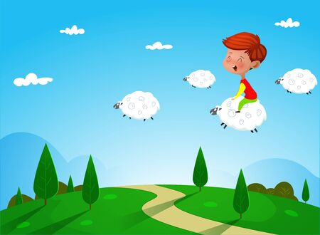 Cartoon boy riding on a sheep. Dreaming concept illustration
