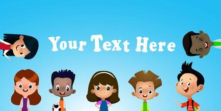 Vector illustration of different kids on blue sky banner. Vector 向量圖像