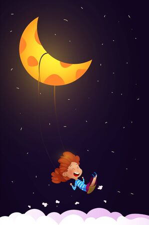 Girl riding a swing in the night. Dreaming and sleeping concept. Vector