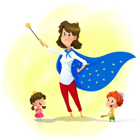 Mother and her children play wizards. Super mother concept illustration. Vector