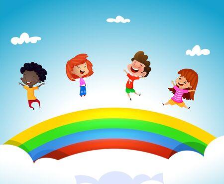 Cartoon children having fun ona rainbow. Vector summer illustration