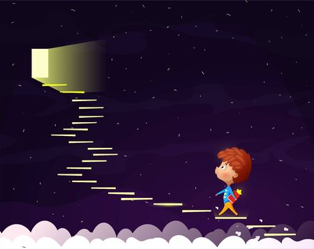 Cartoon boy goes up the stairs to the moonlight door. Conceptual image on the topic of reading and self-education. Illustration