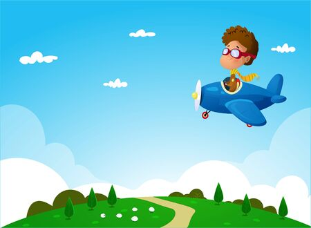 illustration of cartoon Boy flying on plane under the rural landscape.Vector
