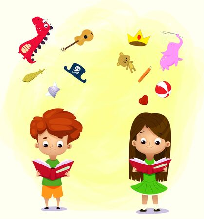 Imagination concept. Boy and girl reading a book and objects flying out. Vector illustration Çizim
