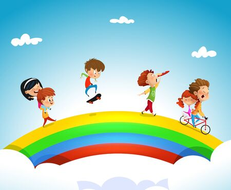 Illustration of kids of different ethnicities playing on a rainbow. Vector