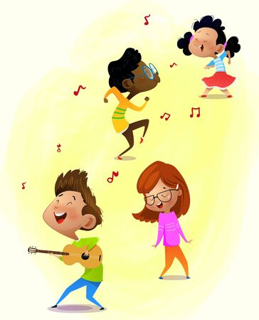 Cute little girl playing guitar instrument with happy face expression. Cartoon vector Illustration