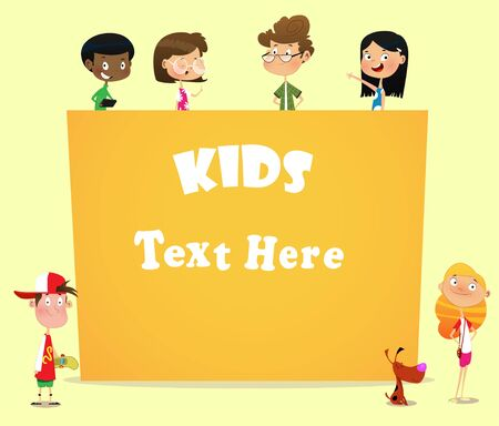 Illustration of Kids behind Blank Banner. Vector Illustration