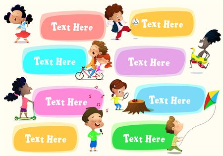 Set of cartoon kids: they riding bike, playing football, studying nature, riding scooter, singing, running with kite, singing. Vector
