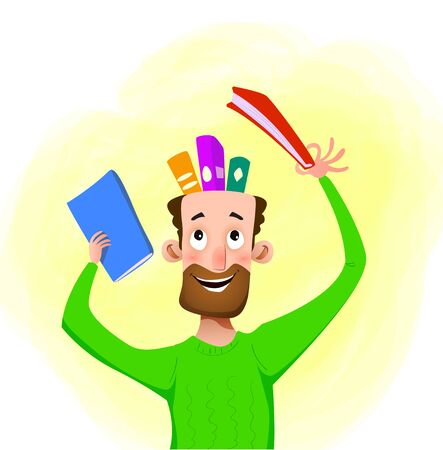 Cartoon man takes a book out of his head. The concept of education, excellent memory. Vector