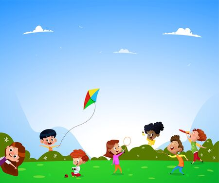 Children playing on the lawn. They taking photo, playing with kite, plating with toy. Vector Illustration