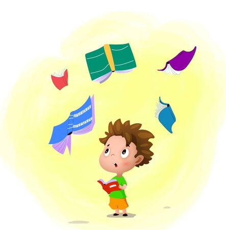 The cartoon boy with the book in his hands. More books are flying around. Reading concept. Vector