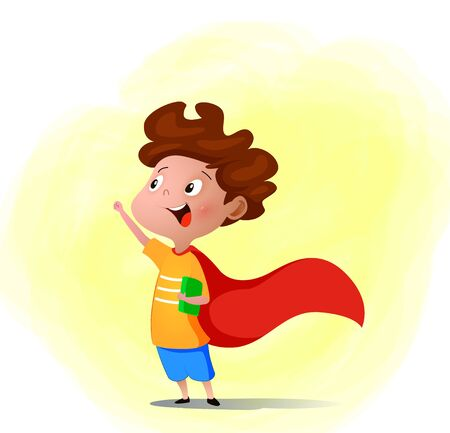 Cartoon child playing superhero with book in hand. Vector illustration. Creative ideas and innovation concept.