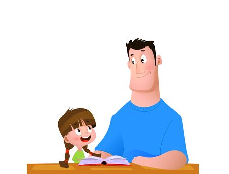 Father and daughter spend time reading a book. Cartoon vector illustration