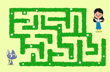 Vector maze game with cat and and her friend little girl. They should find each other. Vector