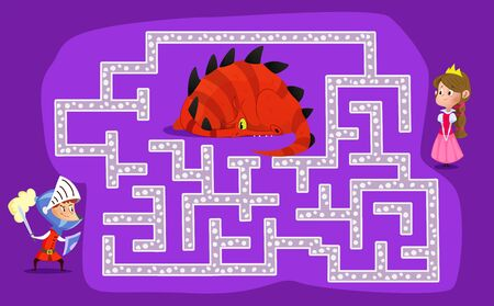 Labyrinth for children. The knight must find a way to the princess and save her from the dragon. Vector maze Illustration