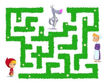 Märchenlabyrinth über Red Hat. Mädchen sollte Weg zu ihrer Großmutter finden. Vektor