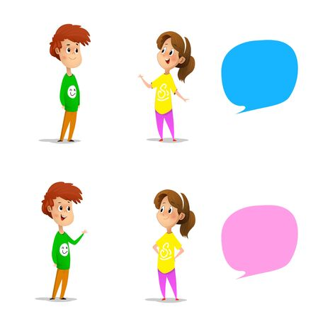 Set with talking boy and girl plus two speech bubbles. Vector Illustration