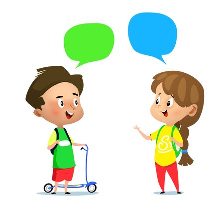 Cartoon boy with scooter and a girl talking to each other. Vector illustration