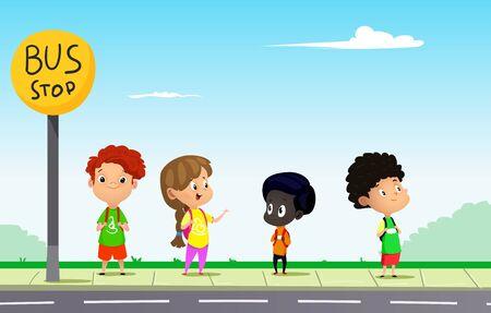 Niños esperando el autobús escolar en un día soleado. Illutration de vector de dibujos animados Ilustración de vector