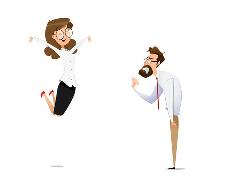 A female businessman rejoices in victory, and her competitor is angry. Business competition concept