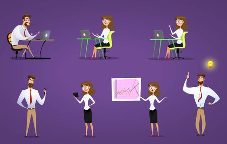 Businessman and businesswoman set. Thery work with laptop and mobile apps. Vector