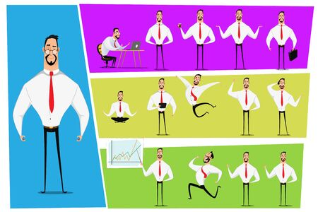 Vector Set of business man. Businessman walking to the success, businessman is in different situations. Vector illustration.  イラスト・ベクター素材