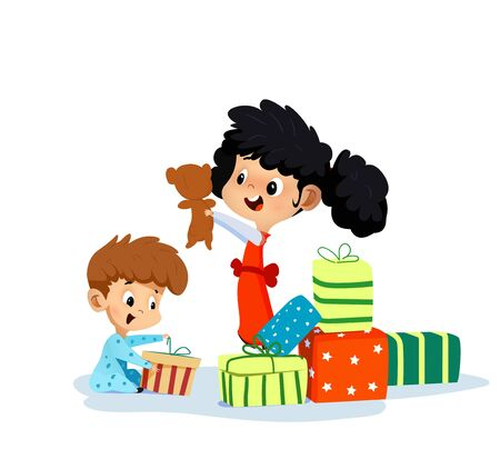 Cartoon Illustration of two children with gifts.