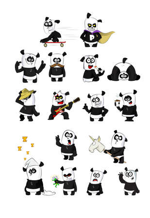 set of cute funny cartoon pandas making different activities. Vector illustration  イラスト・ベクター素材
