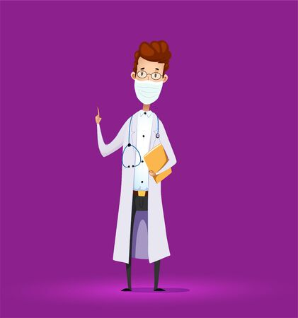 Cartoon doctor in medical lab coat lab with finger up. covid-19. Vector
