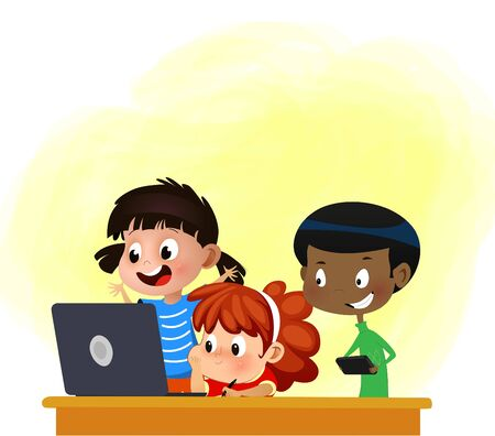 Kids friends playing on laptop computer at home together. Vector