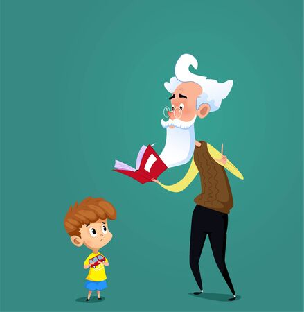 Grandfather proposes to his grandson to read some book. Vector Illustration