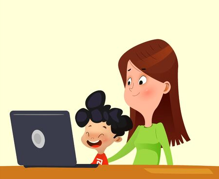 Little boy learning the use of computers with his mother. Cartoon vector
