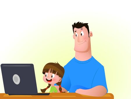 Young girl with father on the laptop. Online education. Vector Illustration