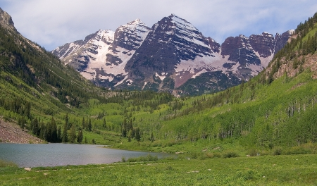 Summer Maroon Bells at Noon Stock Photo