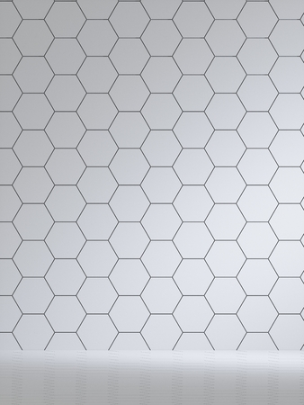 3d render of white interior with hexagonal panels on wall