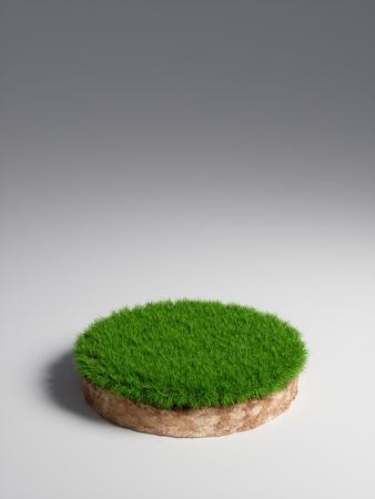 3D-Darstellung runder Bodenquerschnitt mit Erdland und grünem Gras