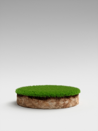 3D Illustration round soil ground cross section with earth land and green grass