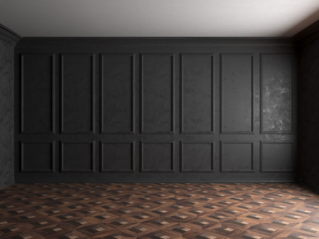 3d render of dark interior with panels on wall 8000px Stock fotó