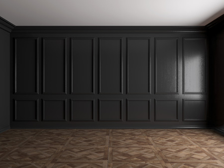 3d render of dark interior with panels on wall 8k Banque d'images - 116771184