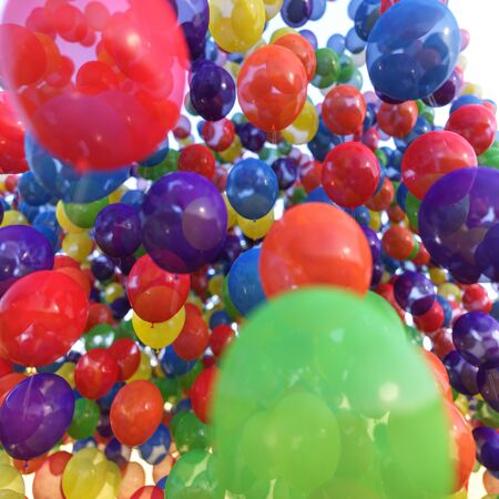 Multicolored balloons in blue sky 스톡 콘텐츠