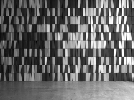3d render of black and white planks contemporary interior