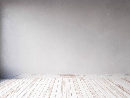 3D-Render leerer Innenraum mit Holzboden und Holzpaneelen